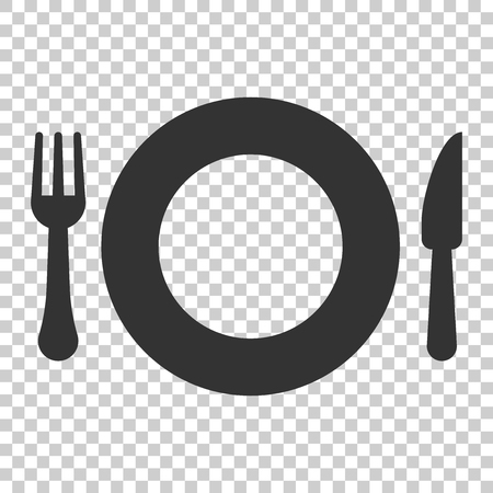 Fork and knife restaurant icon in flat style. Dinner equipment vector illustration on isolated background. Restaurant business concept. Иллюстрация