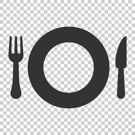 Icona del ristorante forchetta e coltello in stile piatto. Illustrazione di vettore dell'attrezzatura della cena su fondo isolato. Concetto di affari del ristorante. Vettoriali
