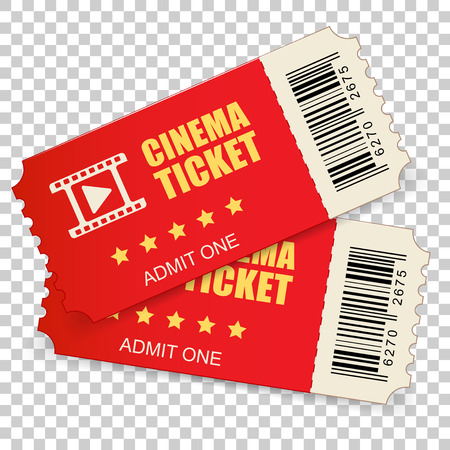 Realistic cinema ticket icon in flat style. Admit one coupon entrance vector illustration on isolated background. 3d ticket business concept. Stock Vector - 112038409
