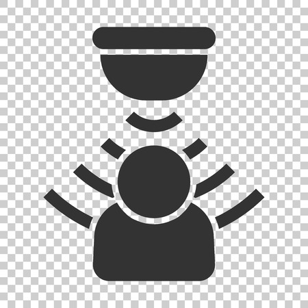 Motion sensor icon in flat style. Sensor waves with man vector illustration on isolated background. People security connection business concept. Ilustração