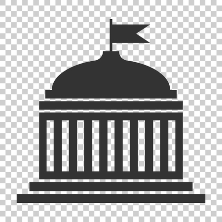 Bank building icon in flat style. Government architecture vector illustration on isolated background. Museum exterior business concept. Фото со стока - 112038540