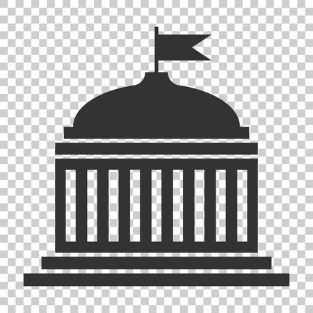 Icono de edificio de banco en estilo plano. Ilustración de vector de arquitectura gubernamental sobre fondo aislado. Concepto de negocio exterior del museo. Ilustración de vector