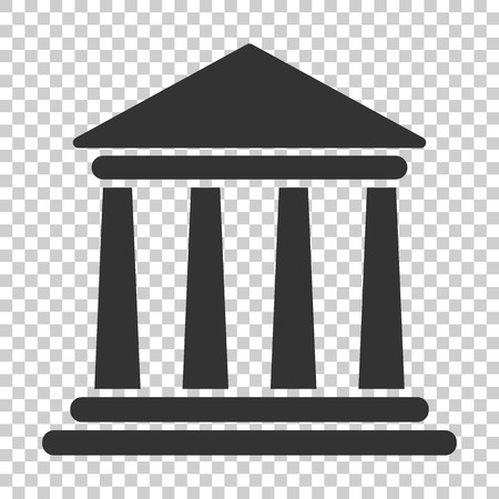 Icono de edificio de banco en estilo plano. Ilustración de vector de arquitectura gubernamental sobre fondo aislado. Concepto de negocio exterior del museo.