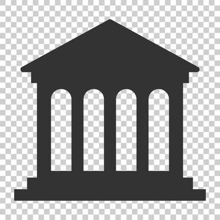 Bank building icon in flat style. Government architecture vector illustration on isolated background. Museum exterior business concept. Imagens - 112038542