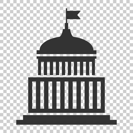 Bank building icon in flat style. Government architecture vector illustration on isolated background. Museum exterior business concept. Banco de Imagens - 112038543