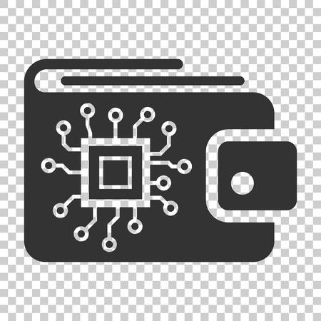 Symbol für digitale Geldbörse im flachen Stil. Krypto-Taschen-Vektor-Illustration auf weißem Hintergrund. Online-Finanzen, E-Commerce-Geschäftskonzept. Vektorgrafik