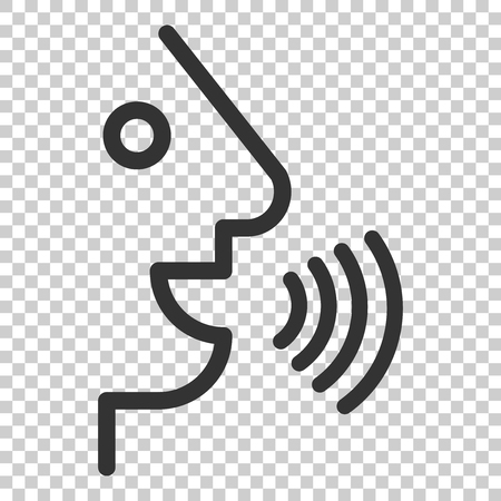 Voice command with sound waves icon in flat style. Speak control vector illustration on isolated background. Speaker people business concept. Vektoros illusztráció