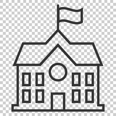 School building icon in flat style. College education vector illustration on isolated background. Bank, government business concept.