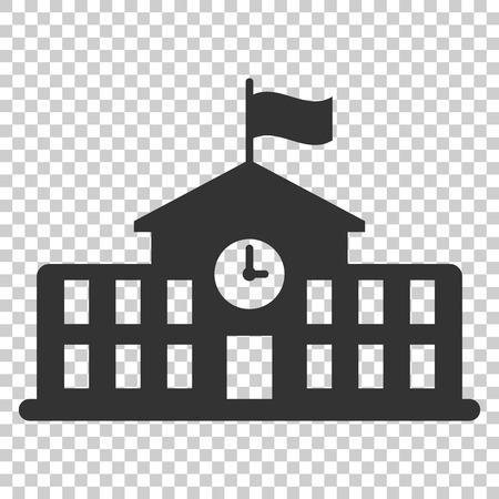 Icono de edificio escolar en estilo plano. Ilustración de vector de educación universitaria sobre fondo aislado. Banco, concepto de negocio gubernamental. Ilustración de vector