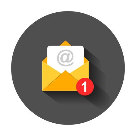 Icona della busta della posta in stile piatto. Illustrazione di vettore del messaggio di posta elettronica con ombra lunga. Concetto di affari di posta elettronica della cassetta postale. Vettoriali