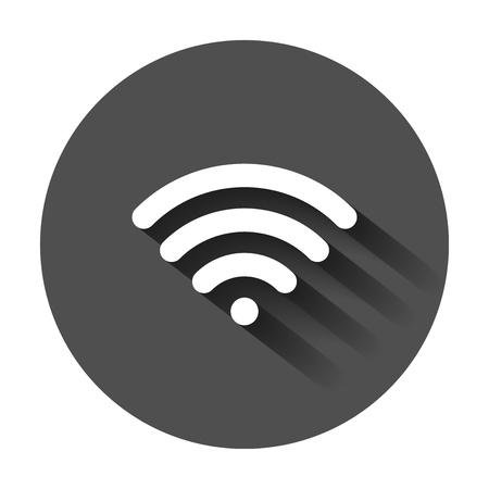 Wifi internet sign icon in flat style. wireless technology vector illustration with long shadow. Network wifi business concept.
