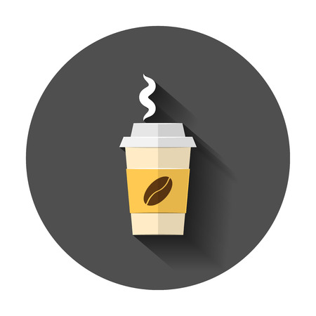 Coffee, tea cup icon in flat style. Coffee mug vector illustration with long shadow. Drink business concept.