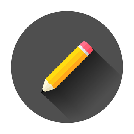 Wooden pencil with rubber eraser icon in flat style. Highlighter vector illustration with long shadow. Pencil business concept.