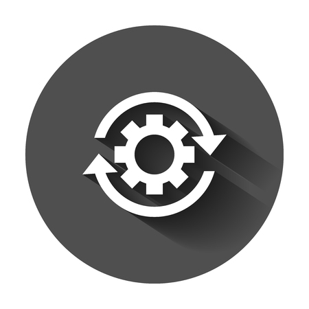 Workflow process icon in flat style. Gear cog wheel with arrows vector illustration with long shadow. Workflow business concept. Illustration