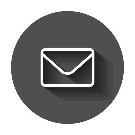 Mail envelope icon in flat style. Receive email letter spam vector illustration with long shadow. Mail communication business concept. 일러스트