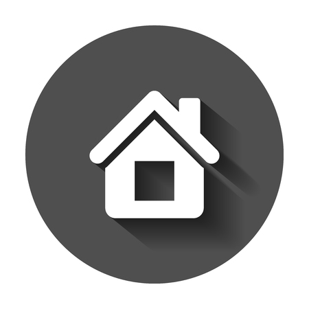 House building icon in flat style. Home apartment vector illustration with long shadow. House dwelling business concept.