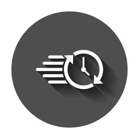 Clock countdown icon in flat style. Time chronometer vector illustration with long shadow. Clock business concept.