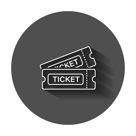 Cinema ticket icon in flat style. Admit one coupon entrance vector illustration with long shadow. Ticket business concept. Stock Vector - 113444110