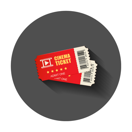 Realistic cinema ticket icon in flat style. Admit one coupon entrance vector illustration with long shadow. Ticket business concept. Illustration