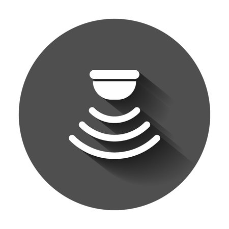 Motion sensor icon in flat style. Sensor waves vector illustration with long shadow. Security connection business concept. Çizim