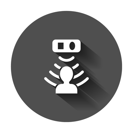 Motion sensor icon in flat style. Sensor waves with man vector illustration with long shadow. People security connection business concept.