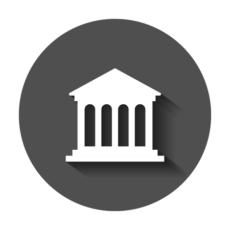 Bank building icon in flat style. Government architecture vector illustration with long shadow. Museum exterior business concept.