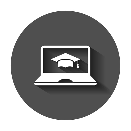 Elearning education icon in flat style. Study vector illustration with long shadow. Laptop computer online training business concept. Vectores