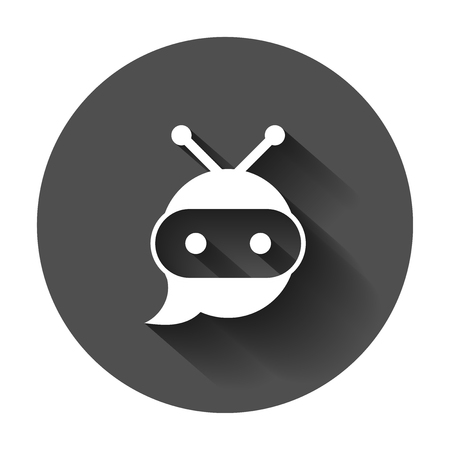 Cute robot chatbot icon in flat style. Bot operator vector illustration with long shadow. Smart chatbot character business concept.