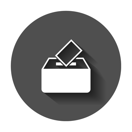 Election voter box icon in flat style. Ballot suggestion vector illustration with long shadow. Election vote business concept.