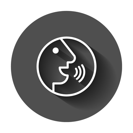 Voice command with sound waves icon in flat style. Speak control vector illustration with long shadow. Speaker people business concept.