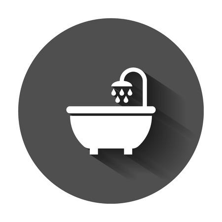 Bath shower icon in flat style. Bathroom hygiene vector illustration with long shadow. Bath spa business concept.