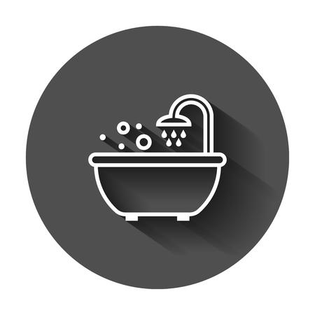Bad-Dusche-Symbol im flachen Stil. Badezimmerhygiene-Vektorillustration mit langem Schatten. Badekurort-Geschäftskonzept.