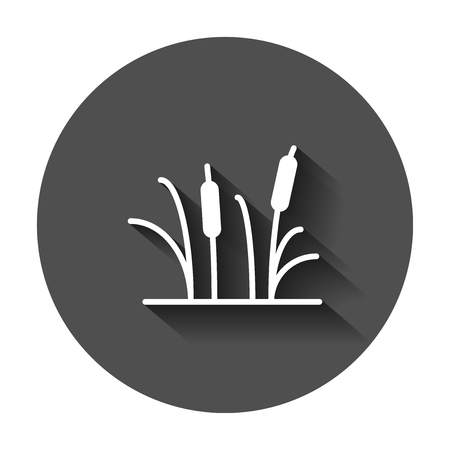 Reeds grass icon in flat style. Bulrush swamp vector illustration with long shadow. Reed leaf business concept.