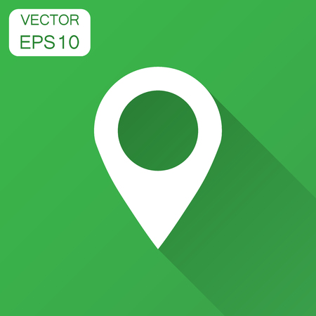 Pin map icon in flat style. Gps navigation vector illustration with long shadow. Target destination business concept.