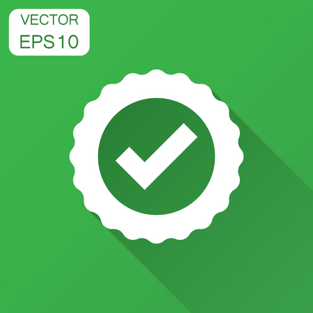 Approved certificate medal icon in flat style. Check mark stamp vector illustration with long shadow. Accepted, award seal business concept.