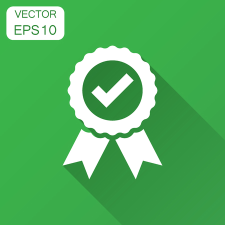 Approved certificate medal icon in flat style. Check mark stamp vector illustration with long shadow. Accepted, award seal business concept. Иллюстрация