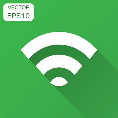 Wifi internet sign icon in flat style. Wifi wireless technology vector illustration with long shadow. Network wifi business concept.