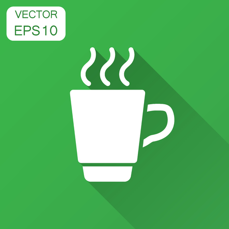 Coffee, tea cup icon in flat style. Coffee mug vector illustration with long shadow. Drink business concept. Фото со стока - 127533702