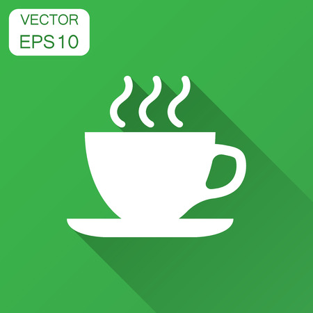 Coffee, tea cup icon in flat style. Coffee mug vector illustration with long shadow. Drink business concept. Фото со стока - 127533703