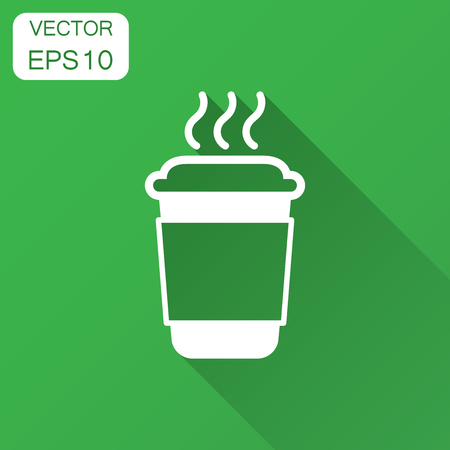 Coffee, tea cup icon in flat style. Coffee mug vector illustration with long shadow. Drink business concept. Фото со стока - 112400198
