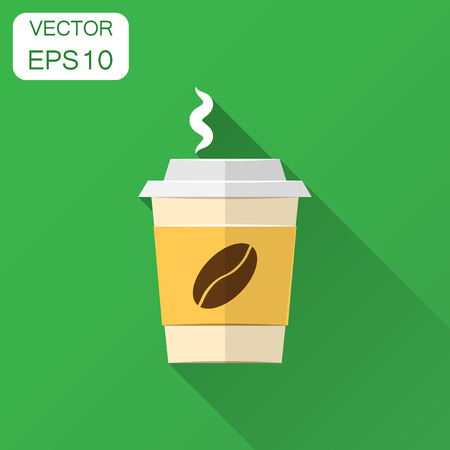 Coffee, tea cup icon in flat style. Coffee mug vector illustration with long shadow. Drink business concept. Фото со стока - 127533705