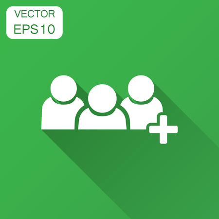People communication user profile icon in flat style. People with plus vector illustration with long shadow. Partnership business concept.