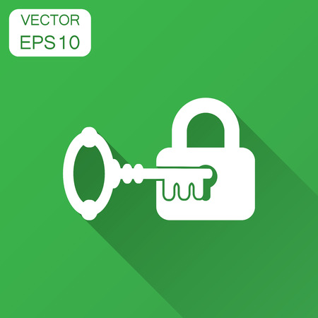 Key with padlock icon in flat style. Access login vector illustration with long shadow. Lock keyhole business concept.