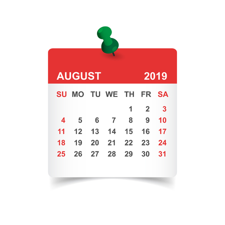 Calendar august 2019 year in paper sticker with pin. Calendar planner design template. Agenda august monthly reminder. Business vector illustration. Vectores