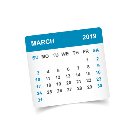 Calendar march 2019 year in paper sticker with shadow. Calendar planner design template. Agenda march monthly reminder. Business vector illustration. Ilustração