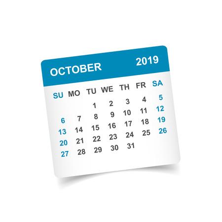 Calendar october 2019 year in paper sticker with shadow. Calendar planner design template. Agenda october monthly reminder. Business vector illustration. Vektorové ilustrace