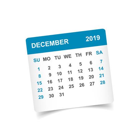 Calendrier décembre 2019 année en papier autocollant avec ombre. Modèle de conception de planificateur de calendrier. Rappel mensuel de l'ordre du jour de décembre. Illustration vectorielle d'affaires.