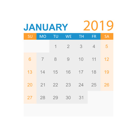 Calendar january 2019 year in simple style. Calendar planner design template. Agenda january monthly reminder. Business vector illustration. Иллюстрация