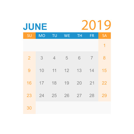 Calendar june 2019 year in simple style. Calendar planner design template. Agenda june monthly reminder. Business vector illustration.