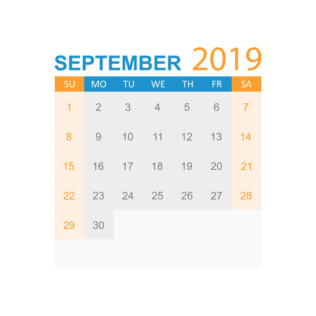 Calendar september 2019 year in simple style. Calendar planner design template. Agenda september monthly reminder. Business vector illustration.  イラスト・ベクター素材